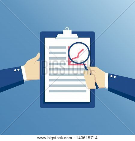 Businessman hands holding magnifier and clipboard hand with a magnifying glass analysis paper sheet