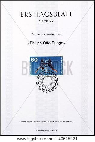 GERMANY - CIRCA 1977 : Cancelled First Day Sheet printed by Germany, that shows painting by Runge.