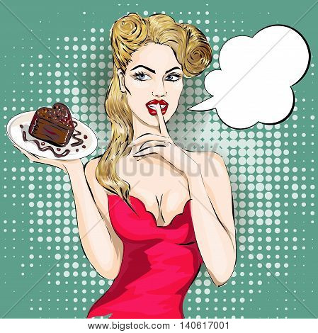 Shhh Pop Art Woman Portrait With Finger On Her Lips And Cake