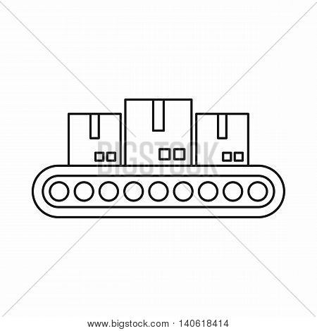 Belt conveyor with load icon in outline style isolated on white background. Shipping symbol