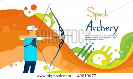 Archer Athlete Sport Competition Colorful Banner Flat Vector Illustration