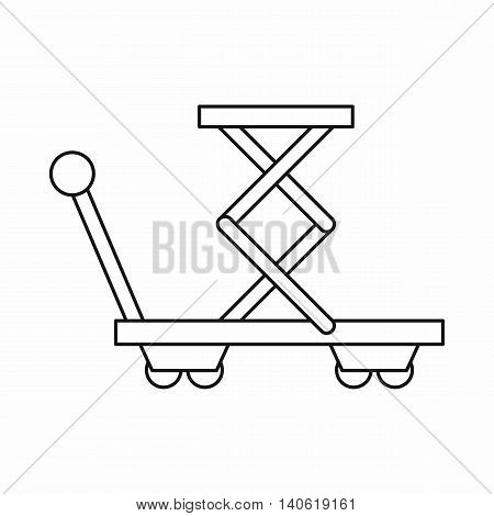 Truck with lifting spring icon in outline style isolated on white background. Transportation symbol