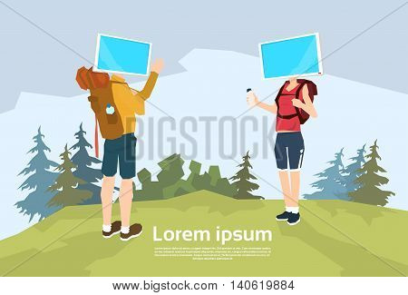 Traveler Man Woman, Video Blogger Couple Outdoor Hiking Flat Vector Illustration
