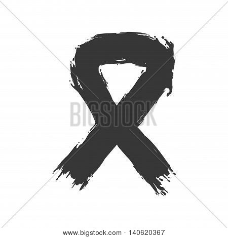 Hope and breast cancer concept represented by ribbon icon. Isolated and flat illustration