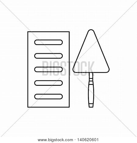 Brick and trowel icon in outline style isolated on white background. Repair symbol