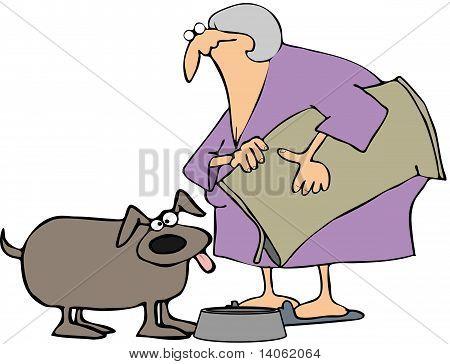 Woman Feeding Her Dog