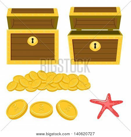 Dower chest isolated cartoon icons and pile of gold coins. Open empty chest, starfish and pile of coins for game graphics.