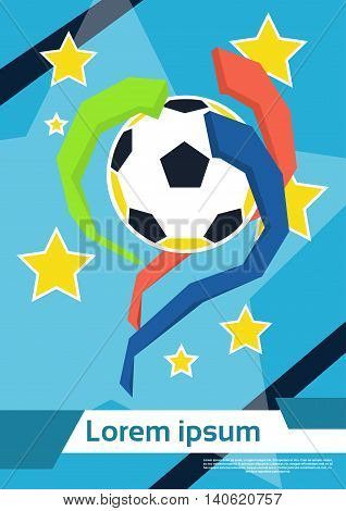 Football Ball Game Championship Colorful Vector Illustration
