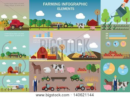 Big Farming Infographic set with agricultural machinery, animals and other objects. Vector illustration.