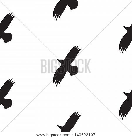 Black raven birds seamless vector pattern in scandinavian style. Crow flight silhouettes on white background. Minimalist style textile fabric wildlife ornament.