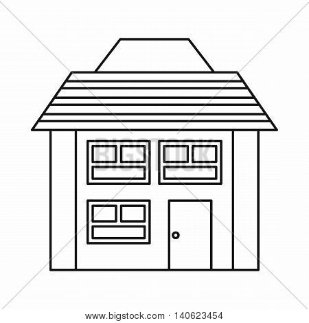 Two-storey house with sloping roof icon in outline style isolated on white background. Construction symbol