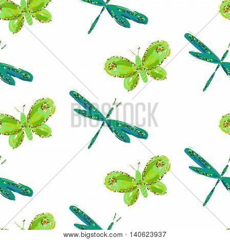 Emerald green dragonfly and butterfly seamless pattern. Insects butterflies with brushed watercolor effect. Botany green on white pattern.