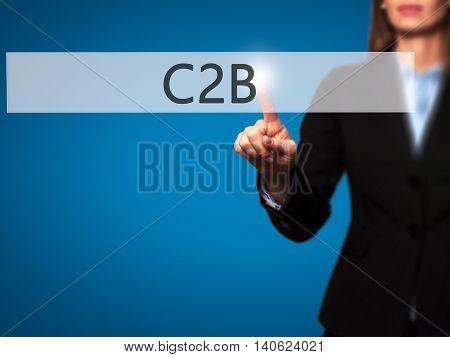 C2B - Businesswoman Pressing High Tech  Modern Button On A Virtual Background