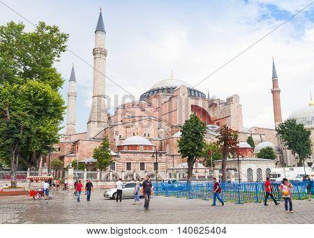 Tourists Walk On The Street Nearby Hagia Sophia