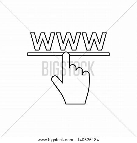Hand points to WWW icon in outline style isolated on white background. Link symbol