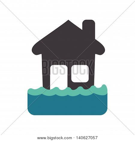 Insurance and Protection concept represented by house being flooded icon. Isolated and flat illustration