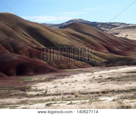 The rich reds and browns of the Painted Hills of Oregon stand out.