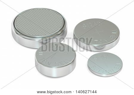 Set of button cell batteries 3D rendering isolated on white background