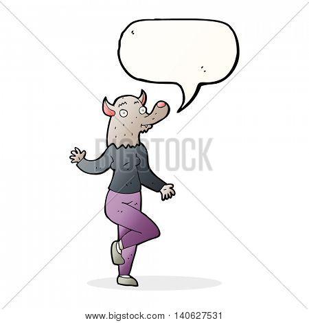 cartoon dancing werewolf woman with speech bubble