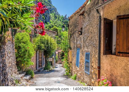 Moustiers Sainte Marie village with street in Provence France