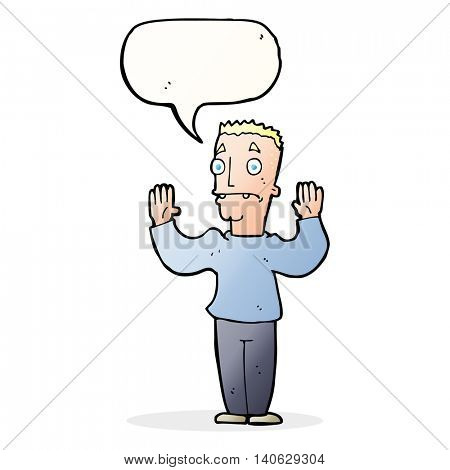 cartoon man surrendering with speech bubble