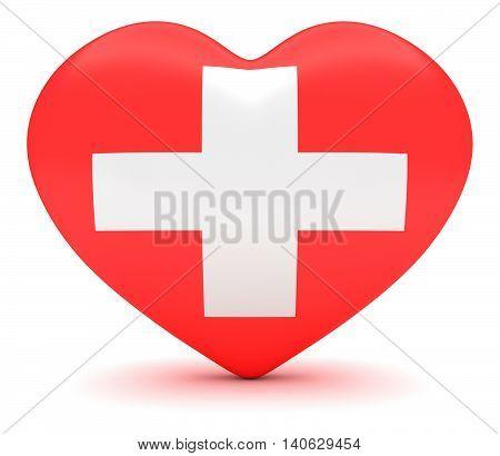 Love Switzerland: Swiss Cross Flag Heart 3d illustration
