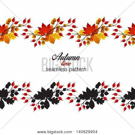 Vector illustration rose hip and leaf, seamless pattern autumn bush