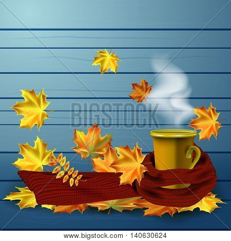 Autumn vector background with a hot cup of coffee or tea in a warm knitted scarf and autumn leaves