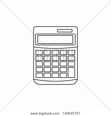 Calculator icon in outline style isolated on white background. Calculation symbol