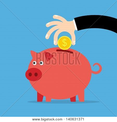 Piggy bank and hand with coin a blue background. Vector illustration