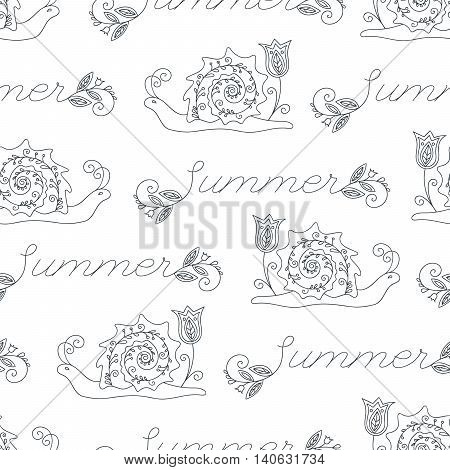 Summer seamless pattern with funny snails and Summer inscription for coloring book. Design element for background, paper packaging, wrapping paper and other. Vector illustration.