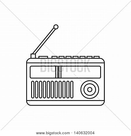 Radio icon in outline style isolated on white background. Music symbol