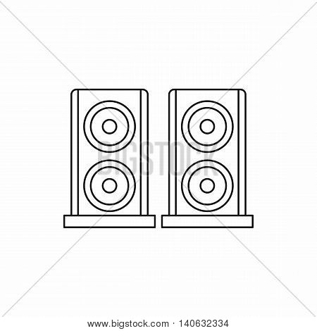 Music speakers icon in outline style isolated on white background. Song symbol