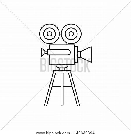 Retro film projector icon in outline style isolated on white background. Cinema symbol