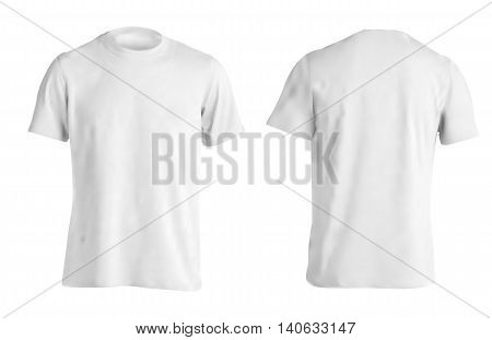 Vector illustration of white men T-shirt isolated on a light background.