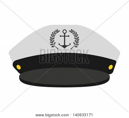 captain sailor anchor hat vector isolated graphic