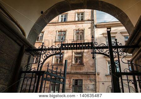 Lviv, Ukraine - June 7, 2016: The Armenian (Virmenska) Street in the historic district of Lviv. Building entrance.