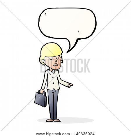 cartoon arrogant businessman pointing with speech bubble
