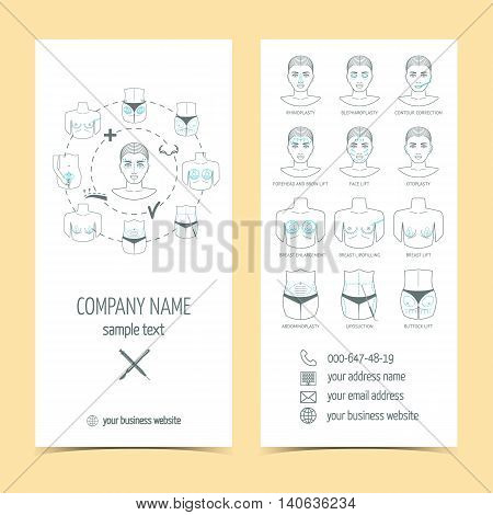 Set of flyer brochure for plastic surgery with line icons. Set of promotional products. Flat design. Vector illustration