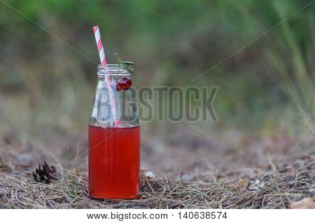 Closeup Of A Red Detox Drink With A Red Drinking Straw,