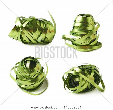 Glossy green ribbon reel partly unwrapped, composition isolated over the white background, set collection of four diffirent foreshortenings