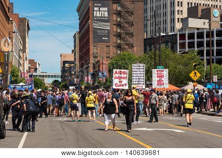 CLEVELAND OH - JULY 20 2016: A hard-core extremist religious group harangues the crowds on Prospect Avenue during the Republican National Convention.