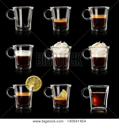 Set of different transparent cups of coffee on black background.