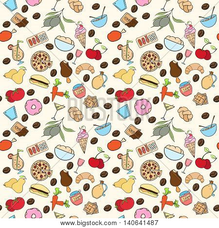 Seamless food pattern can be used for wallpaper, website background, wrapping paper. Restaurant bright pattern. Food design. Healthy food concept.
