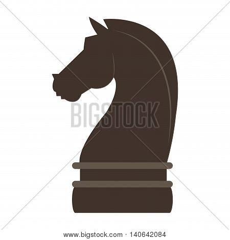 flat design horse chess piece icon vector illustration