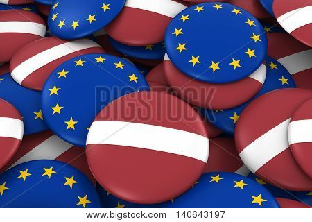 Latvia And Europe Badges Background - Pile Of Latvian And European Flag Buttons 3D Illustration