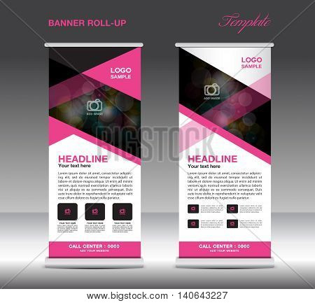 Pink and white Roll Up Banner template vector standy design display advertisement flyer for corporate
