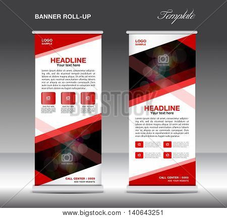 Red Roll Up Banner template vector standy design display advertisement flyer for business