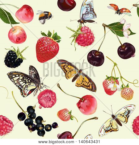 Vector summer seamless pattern with berries and butterflies. Background design for tea, ice cream, natural cosmetics, candy and bakery with berries filling, health care products.Best for wrapping paper.