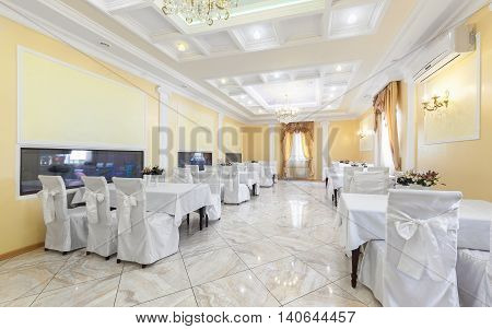 MOSCOW - JULY 2014: Banquet hall in classic style of the restaurant
